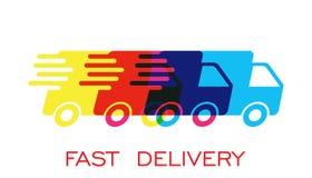 Illustration för vektor för logo för leveranslastbil Snabb hemsändningsändningssymbol royaltyfri illustrationer