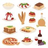 Illustration för vektor för lunch för läcker hemlagad matlagning för kokkonst för tecknad filmItalien mat ny traditionell vektor illustrationer