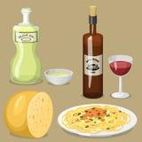 Illustration för vektor för lunch för läcker hemlagad matlagning för kokkonst för tecknad filmItalien mat ny traditionell italien stock illustrationer