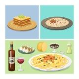 Illustration för vektor för lunch för läcker hemlagad matlagning för kokkonst för tecknad filmItalien mat ny traditionell italien royaltyfri illustrationer