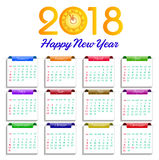 Illustration för vektor för lyckligt nytt år för kalender 2018 royaltyfri illustrationer