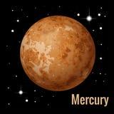 Illustration för vektor för Mercury planet 3d Högkvalitativa isometriska solsystemplaneter Arkivbild