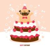Illustration för vektor för mopsfödelsedagkort Arkivfoto