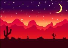 Illustration för vektor för natt för ökenparallaxbakgrund arkivbilder