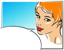 Illustration för vektor för popkonst av en kvinnaframsida Royaltyfria Bilder