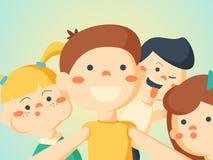 Illustration för vektor för portreit för vänner för Selfie barnpar Fotografering för Bildbyråer