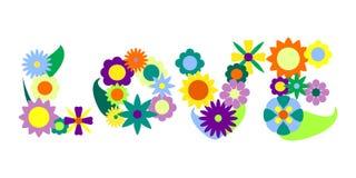 Illustration för vektor för prydnad för förälskelseordblomma, blommaord Royaltyfri Foto