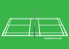 Illustration för vektor för sikt för sida för badmintondomstol Arkivbilder