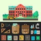 Illustration för vektor för skolabyggnad med utbildningssymboler vektor illustrationer