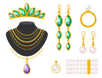 Illustration för vektor för smycken för traditionell guld- för smyckenarmringdiamant för lyx minut för bot dyrbar guld- vektor illustrationer