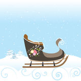 Illustration för vektor för snöflinga för snö för tappning för vinterslädeblommor härlig royaltyfri illustrationer