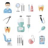 Illustration för vektor för stomatology för hygien för instrument för medicin för hjälpmedel för plan hälsovårdtandläkare medicin stock illustrationer