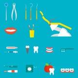 Illustration för vektor för stomatology för hygien för instrument för medicin för hjälpmedel för plan hälsovårdtandläkare medicin vektor illustrationer