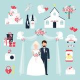 Illustration för vektor för symboler för par för garnering för romans för årsdag för lägenhet för uppsättning för beröm för bröll royaltyfri illustrationer