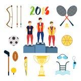 Illustration för vektor för symboler för Rio de Janeirosommarolympiska spel bakgrund isolerad white Royaltyfria Foton