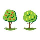 Illustration för vektor för tecknad filmpäron- och äppleträd Royaltyfri Fotografi