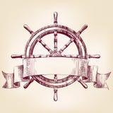 Illustration för vektor för teckning för skeppstyrninghjul Royaltyfri Foto