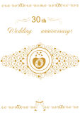illustration för vektor för 30th bröllopsdaginbjudan härlig redigerbar Royaltyfria Foton