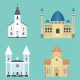 Illustration för vektor för turism för gränsmärke för traditionell byggnad för tempel för domkyrka kyrklig berömd Royaltyfria Bilder