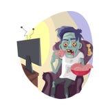 Illustration för vektor för TV för levande död hållande ögonen på plan royaltyfri illustrationer