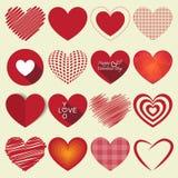 Illustration för vektor för uppsättning för hjärtavalentinsymbol Royaltyfria Bilder