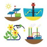 Illustration för vektor för uppsättning för källa för alternativ energi Fotografering för Bildbyråer