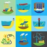 Illustration för vektor för uppsättning för källa för alternativ energi Royaltyfri Bild