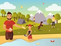 Illustration för vektor för utomhus- lekar för familj i plan stil vektor illustrationer