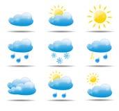 Illustration för vektor för vädersymboler fastställd Royaltyfri Bild
