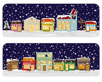 Illustration för vektor för vinterbyMain Street grannskap Arkivbild