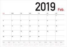 Illustration för vektor för Februari 2019 skrivbordkalender stock illustrationer
