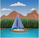 Illustration för vektor för flyg- sikt för berg Berglandskap med sjön och den lilla yachten vektor illustrationer