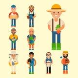 Illustration för vektor för folk för lantbruk för arbetare för trädgårdsmästare för åkerbrukt yrke för person för bondeteckenman  vektor illustrationer