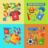 Illustration för vektor för fotbollslagsupporterbaner Attribut för fotbollsportfan, tillbehör för anhängarefantastman och t vektor illustrationer