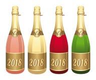 Illustration för vektor för 2018 fyra Champagneflaskor Lyckönskan eller lyckligt nytt år! royaltyfri illustrationer