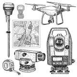 Illustration för vektor för geodetisk utrustninghand utdragen Mäta instrument inristade stil Sketch isolerade på vit bakgrund royaltyfri illustrationer