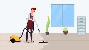 Illustration för vektor för golv för man hoovering plan Rengörande matta för make, genom att använda dammsugare som gör hushållsa royaltyfri illustrationer