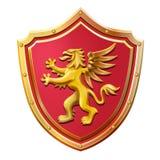Illustration för vektor för grip för kunglig sköld för emblem röd guld- vektor illustrationer
