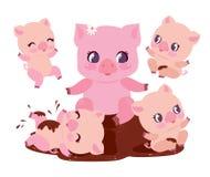 Illustration för vektor för gullig för svinfamiljbad pöl för smuts plan Lyckliga Chubby Baby Swine Play i smutsig gyttja Rosa ung stock illustrationer