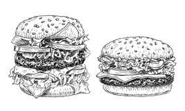 Illustration för vektor för hamburgare- och ostburgarehand utdragen Snabbmat inristad stil Hamburgare skissar isolerat på vit stock illustrationer