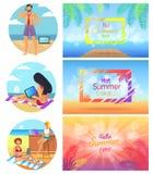 Illustration för vektor för Hello varm sommardagar fastställd royaltyfri illustrationer