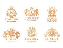Illustration för vektor för identitet för märke för samling för logo för heraldik för produkt för tappning för lyxigt vapen för b stock illustrationer