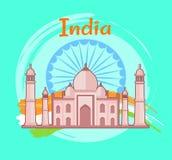 Illustration för vektor för Indien affischkulturarv stock illustrationer