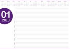 Illustration för vektor för Januari 2018 kalenderstadsplanerare vektor illustrationer