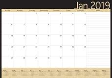 Illustration för vektor för Januari 2019 skrivbordkalender stock illustrationer