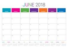 Illustration för vektor för Juni 2018 kalenderstadsplanerare vektor illustrationer