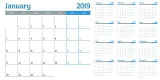 Illustration 2019 för vektor för kalenderstadsplaneraremall royaltyfri bild