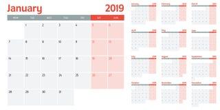 Illustration 2019 för vektor för kalenderstadsplaneraremall arkivfoton