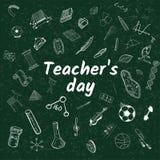 Illustration för vektor för klotter för dag för lärare` s Royaltyfria Bilder