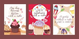 Illustration för vektor för kort för efterrätt för kaka för bageri för muffinaffischdesign Design för bakgrund för parti för muff stock illustrationer
